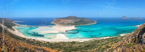 Panorama of Balos beach and Gramvousa island near Kissamos in Crete, Greece - 206027956