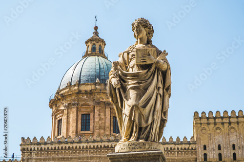 Plexiglas Palermo Famous cathedral church of Santa Rosalia and statues of Sant'Oliva in Palermo, Sicily island in Italy.