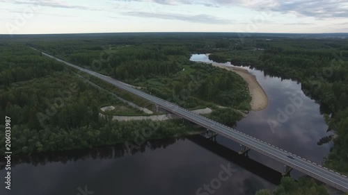 Sticker Road bridge over the river
