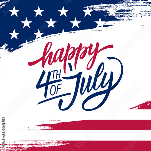 Happy Independence Day greeting card with brush stroke background in United States national flag colors and hand lettering text Happy 4th of July. Vector illustration.