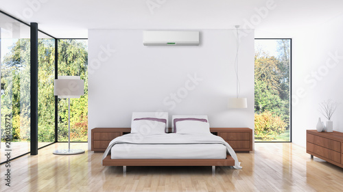 Modern bright bed room with air conditioning interiors 3D rendering illustration