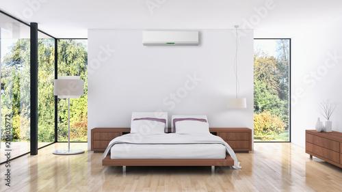 Nowożytny jaskrawy łóżkowy pokój z klimatyzacj wnętrzami 3D renderingu ilustracja