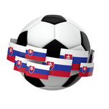 Soccer football with Slovakia flag against a plain white background. 3D Rendering