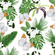 Seamless pattern with tiare flowers, tropical leaves and butterflies.