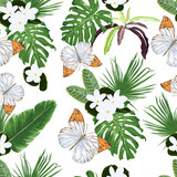 Seamless pattern with tiare flowers, tropical leaves and butterflies.  - 206040146