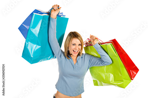 Shopping: Exctied Female Shopper With Shopping Bags