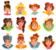 Princess And Queen Heads Set Sticker