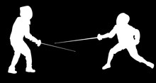 Silhouettes Of Two Young Fencers On Black Sticker