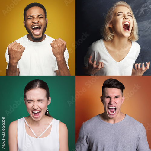 Collage of different screaming people