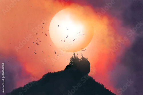 Aluminium Koraal Colorful sunset in wild valley with birds. Digital Art.