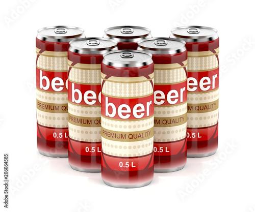 Fototapeta Group of beer cans