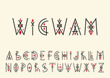 Vector alphabet set. Capital letters in geometric indigenous style. For hipster theme, trendy posters. - 206071734