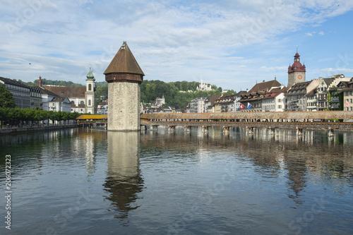 Sticker Kapellbrücke mit Turm in Luzern, Schweiz