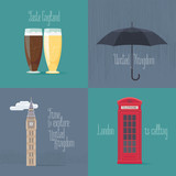Set of vector illustrations with British symbols