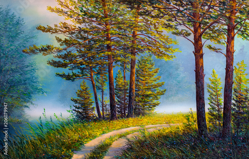 Fototapeta Oil painting landscape , colorful summer forest.