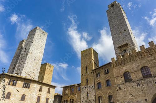 Fototapeta Old stone towers at San Gimignano in Tuscany, Italy