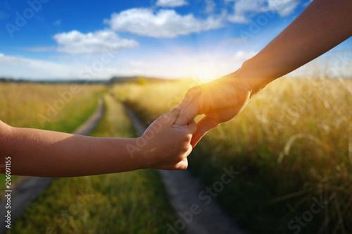 Hands of holding each other in field