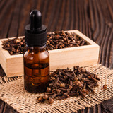 essential oil of cloves on a wooden rustic background