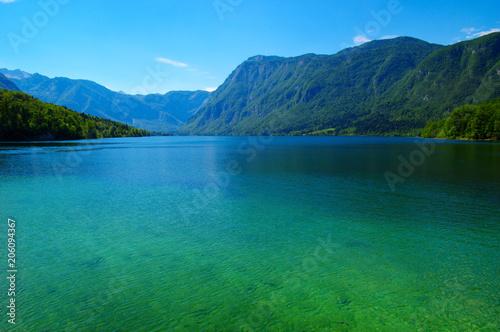 Fotobehang Blauw Mountain lake with clear water