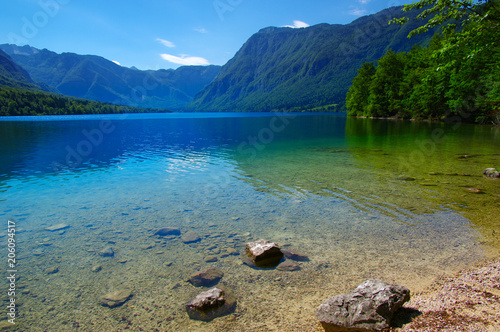 Fotobehang Bergrivier Landscape Bohinj Lake,with clear water.