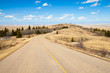 A road though Cypress Hills Interprovincial Park, Alberta, Canada in spring