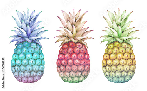 watercolor drawings abstract multicolored pineapple blue, pink, yellow on a white background - 206096395