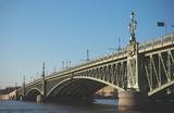Troitsky drawbridge bridge across the Neva River in St. Petersburg.