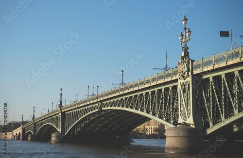 Sticker Troitsky drawbridge bridge across the Neva River in St. Petersburg.