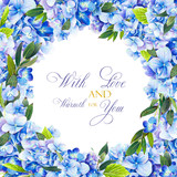 Template for congratulations or invitations to the wedding in blue colors. Illustration by markers, beautiful frame of hydrangea and leaves. Imitation of watercolor drawing. - 206106112