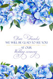 Template for congratulations or invitations to the wedding in blue colors. Illustration by markers, beautiful composition of hydrangea and leaves. Imitation of watercolor drawing. - 206106133