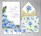 Set of templates for greetings or invitations to the wedding. Blue hydrangea. Illustration by markers: invitation card, tags, seamless pattern and different elements. Imitation of watercolor drawing. - 206106354