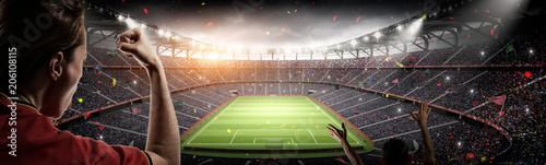 Leinwanddruck Bild soccer fans and 3d rendering imaginary stadium