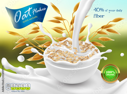 Vector 3d realistic promo poster, banner of oat flakes. Cereal ears, grains with white bowl and splashes of milk. Detailed plant for packaging design. Agriculture organic crop.