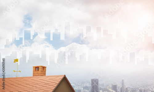 Concept of real estate and construction with drawn silhouette on big city background - 206110565