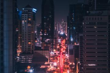 city lights at night - street traffic