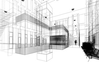 sketch design of interior hall, 3d rendering © Suwatchai