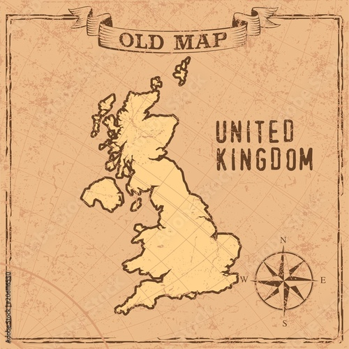 Fototapeta Old style maps and countries shapes in vintage