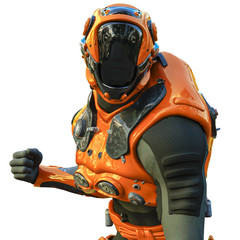 astronaut in orange exo suit exploring arround
