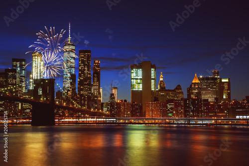 Aluminium Brooklyn Bridge Fireworks over Manhattan, New York City.