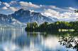 Leinwanddruck Bild - Deutschland, Allgäu, Forggensee, Panorama mit 2 Standup Paddlern