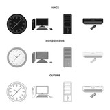 Clock with arrows, a computer with accessories for work in the office, a cabinet for storing business papers, air conditioning with remote control. Office Furniture set collection icons in black