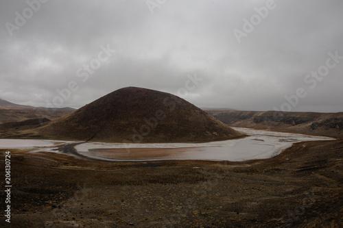Fotobehang Chocoladebruin Lake Meke, Volcanic Lake, Turkey