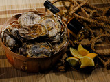 Raw oysters plate. Dark natural background. - 206135396