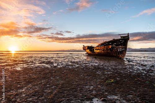 Fotobehang Schipbreuk Janie Seddon ship wreck New Zeaaland