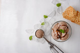 Chocolate ice cream with mint and waffle cone, and a spoon for ice cream. A top view, and with an empty space for an inscription - 206138771