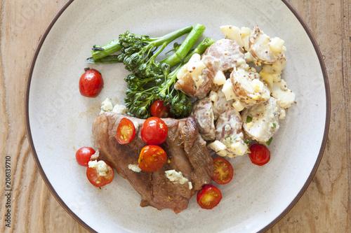 Fotobehang Steakhouse Grilled Steak and Potato Salad