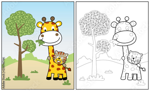 coloring page or book with giraffe and tiger cartoon