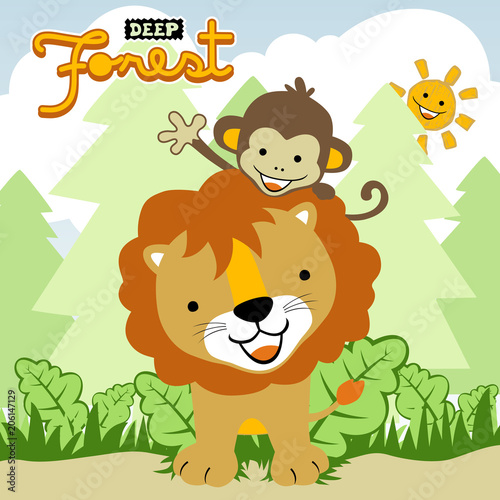 Fototapeta cute animals in the forest, vector cartoon illustration