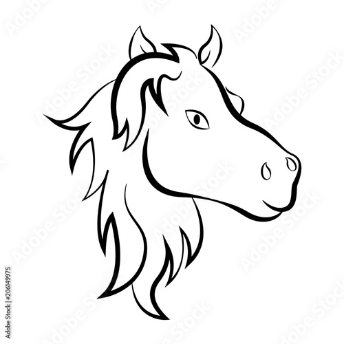 Isolated outline of a horse