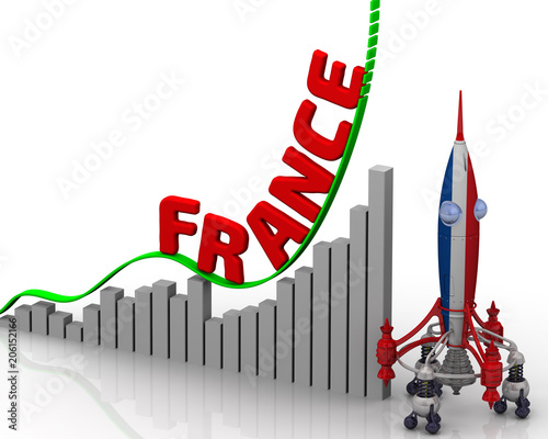 The graph of France success. Graph of rapid growth with red word FRANCE and rocket in the colors of the Italy flag. 3D Illustration